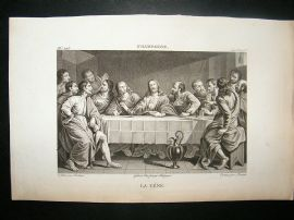 After Champaigne C1810 Antique Print. La Cene, The Last Supper